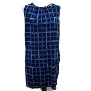 Michael Kors Blue Windowpane Shift Dress Size S